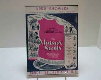 Vintage Sheet Music-April Showers from The Jolson Story 1921