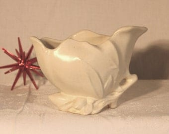 McCoy white Lily Bud twig planter 5 inches tall and 7 in wide, crazing and 1 sm chip and hair line