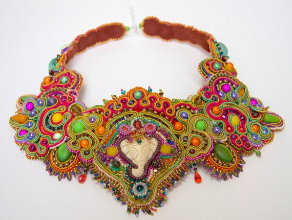 Calling Bombay - Unique bead embroidered Soutache braid statement necklace