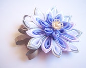 Kanzashi Fabric Flower Brooch in Purple-Blue White and Grey Colors