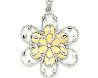 14k Gold Two tone Bursting Flower pendant.