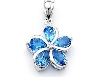 Genuine Blue Topaz & .02 Diamond ctw. Plumeria Floral Pendant.