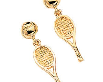 14kt yellow gold tennis ball & racket earrings with post back