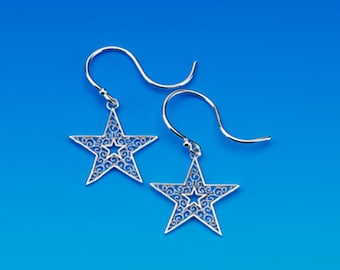 Sterling Silver Star Earrings. 65% off regular price.