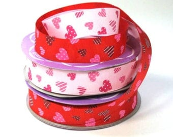 "7/8"" Heart  Print Grosgrain Ribbon sale"