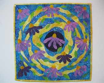 "Art Quilt - ""Chaotic Coneflowers"""