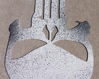 8 inch PUNISHER Skull Logo Symbol Metal Art Ornament Comic Book Hero Villain Movie Stencil