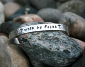 Walk by Faith - Hand Stamped Textured Bracelet with cross stamp, Religious, Faith - KennabelleDesigns