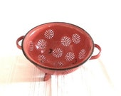 Enameled Colander, Tomato Red, Vintage Kitchenware
