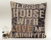 Items similar to Cotton linen love family home decorative throw pillow case/cushion cover 16