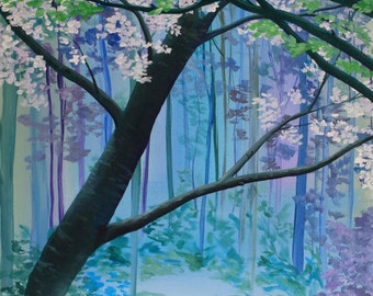 Blue Forest Painting