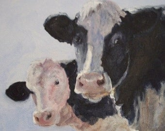 Friends-Holstein Cow Digital Reproduction Print of Original Artwork by Jonnie J. Baldwin