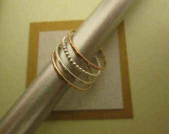 Stacking Rings Set of 4, Sterling Silver & 14K Rose and Yellow Gold Filled Rings