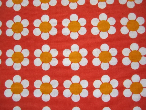 Orange Daisy / Flower Print Fabric- Shipping Included In Price on Etsy