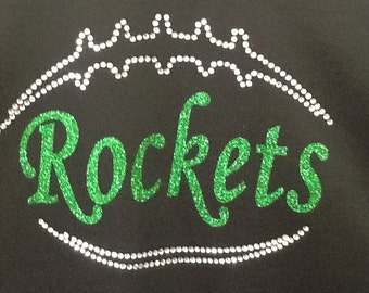 Custom Football glitter and rhinestone fitted t-shirt