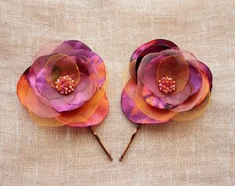 Purple, Orange and Pink Hairpins. Flower Hairpins. Fabric Hairpins. Floral Accessories.