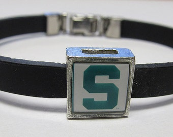 Michigan State College Link With Choice Of Colored Band Charm Bracelet