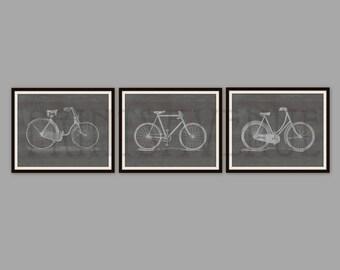 BIKE Art Prints, BICYCLE Wall Art, BIKE Wall Decor, Trio Art, Wall Decor Set, 8x10