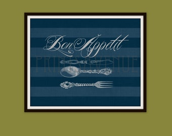 CUTLERY Art Print, Bon Appetit Wall Art, FORK and SPOON Wall Decor, Blue and Gray