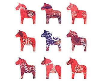 Swedish Dala Horse Print - 8 x 10 - Scandinavian Print - Red