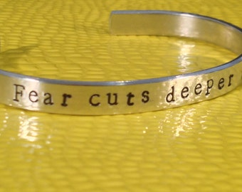 Fear Cuts Deeper Than Swords Game of Thrones Inspired Aluminum Cuff Bracelet