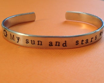 My Sun And Stars Game of Thrones Inspired Aluminum Cuff Bracelet Hand Stamped