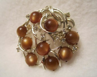 Vintage Coro Brooch, Light Topaz Moonstones and Crystal Rhinestones are in Swirls of Silver Tone Vines