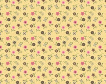 1/2 yard Saddle Up Cotton by Riley Blake yellow calico with flowers