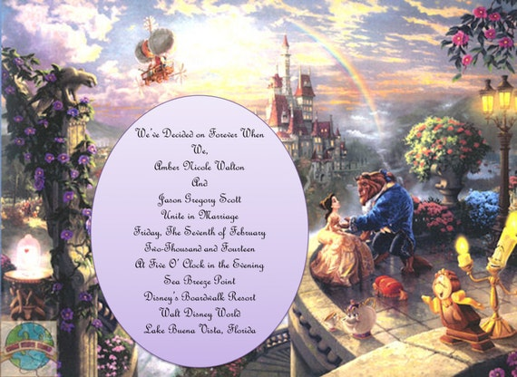 Beauty and the beast theme wedding invitations for Beauty and the beast wedding invitation template free