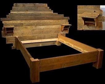 Rustic Platform Bed Frame OldWorld Reclaimed Wood Style