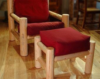Log furniture Rustic Snow Creek Easy Chair/Ottoman Set