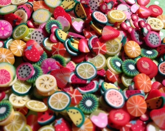 FREE SHIPPING - 100 Pc Fruit Polymer Cane Slices
