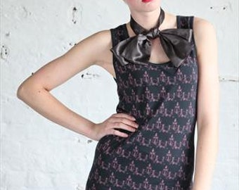 Navy/Purple Pretty Disturbia Ant Print Alternative Gothic Dress