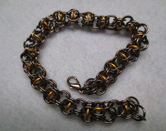Men's Black and Captured Gold Inverted Roundmaille Bracelet