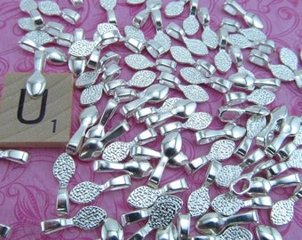 100 Teardrop Bails - Shiny Silver Color - 16mm - Small Glue On Bails - For Scrabble and Glass Pendants - 5/8 x 1/4 inch 16mm x 5mm