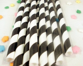 25 Black Striped Paper Straws