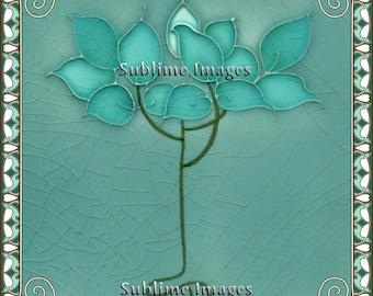 AN025 - Gloss Ceramic or Glass Tile - Vintage Art Nouveau Reproduction Tile.(Blue Petals) - Various Sizes
