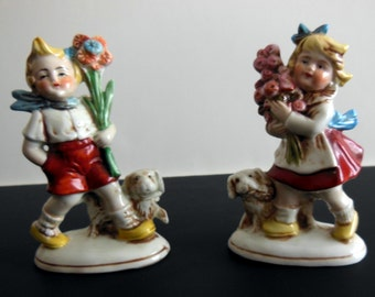ON SALE - Antique Pair German Figurines Boy and Girl -