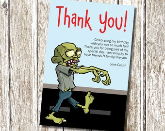 Zombie  - Thank you card- Printable and Personalised