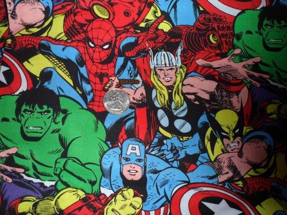 fat quarter marvel avengers superhero comic characters 18x22