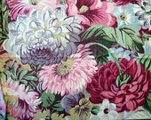 Vintage 1950s 1960s Cotton Fabric Dense with Flowers