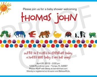 PRINTABLE Eric Carle inspired baby shower invitation