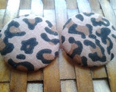 Extra Large Fabric Buttons Earring-Foxy