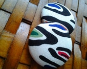 Extra Large Button Earrings-Botswana