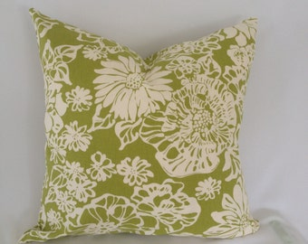 Biko Leaf Green and White Cotton Pillow Cover