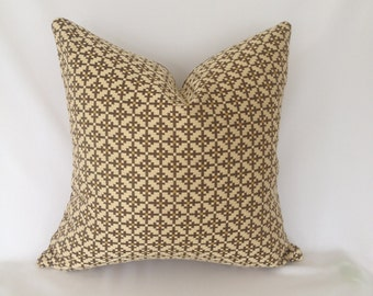 Tan and Brown Geometric Pattern Pillow Cover
