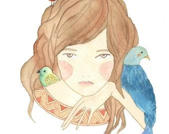 """Bird Girl-Original Print  5"""" x 7"""""""