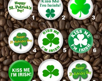 9 Saint Patrick's Pin Plastic or Metal Flat back Button Set - Wholesale Pricing
