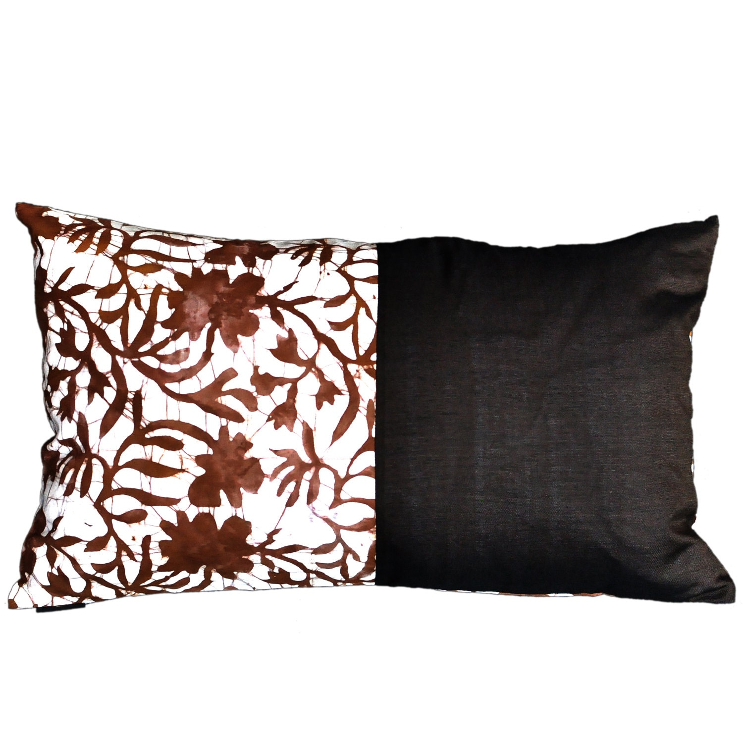 batik kissenbezug gardenia motiv braun 50 x 30. Black Bedroom Furniture Sets. Home Design Ideas