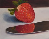 "Original Oil Painting Strawberry still life fruit on panel 6"" x 6"""